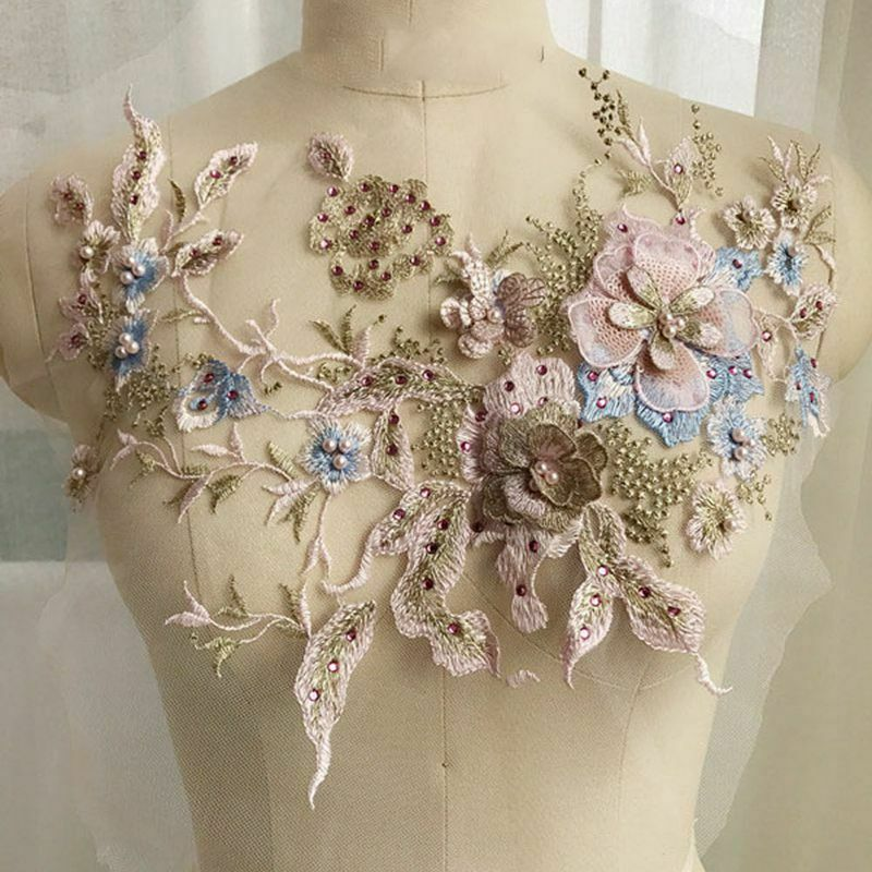 ID 6570 Multi Color Lace Flowers Band Patch Craft Embroidered Iron On Applique