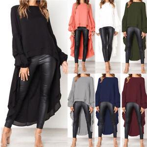 Women-039-s-Long-Bell-Sleeve-Asymmetrical-Hem-Loose-Tops-Shirt-Blouse-Dress-I7T6