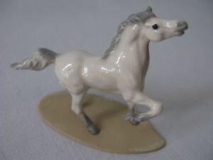 Hagen-Renaker~Mini Arabian Stallion~Horse on Base~Figurine~White w/Gray