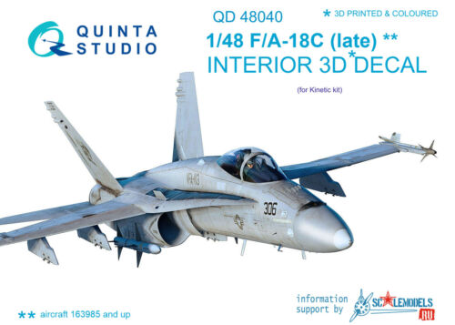 fin Quinta Studios QD48040 1//48 3D Intérieur Autocollant F//A-18C Hornet Cinétique