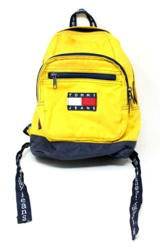 Tommy Jeans Hilfiger Vtg 90s Neon Yellow Navy Back
