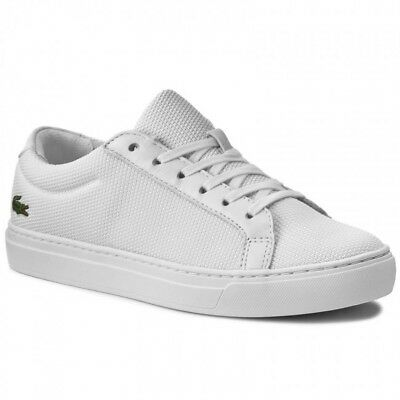 Lacoste L.12.12 BL 2 CAW White Lace Up Canvas Sneakers Trainers UK 3 EU 36.5