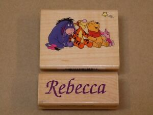 Rebecca Name Wooden Rubber Stamp Plate Winnie The Pooh