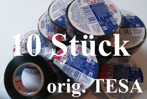 10  ROLLEN  TESA Isolierband  Elektro Klebeband schwarz Kabel isolieren  MwSt