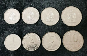 SRI-LANKA-SET-4-UNC-COINS-1-2-5-25-10-RUPEES-2017-P-NEW