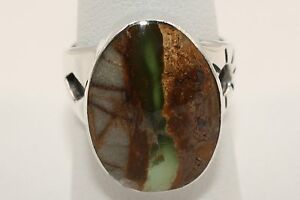 Signed-Native-American-Navajo-Made-Sterling-Silver-Boulder-Turquoise-Ring