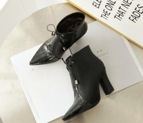 Details about  /Women Pointed Toe Faux Leather Ankle Boots Cone Heel Side Zipper Party Dance Sz
