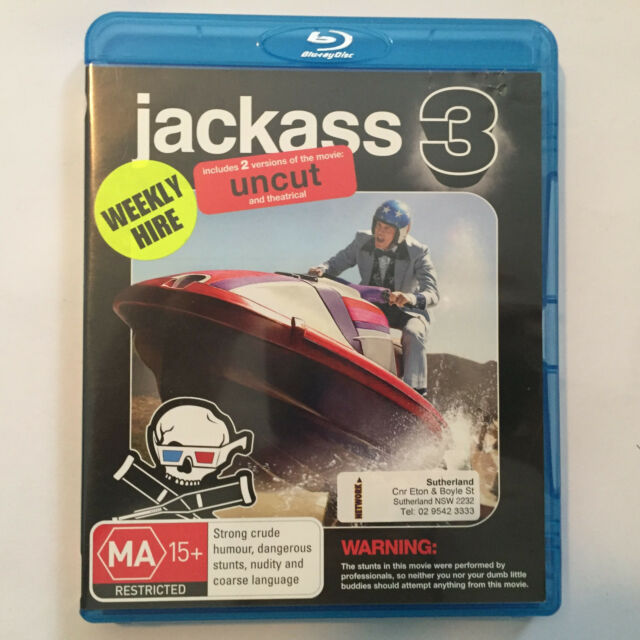 Jackass 3 -Blu-ray, 2011, ExRental CONTAINS SLEEVE & DISC ONLY - NO PLASTIC CASE