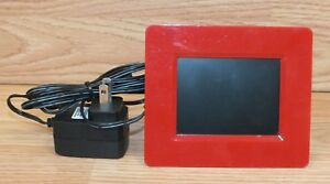 Genuine-Optimus-16-667-Red-3-5-034-Digital-LCD-Photo-Frame-w-Power-Supply-READ