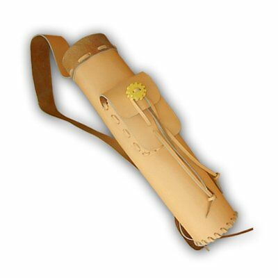 CAROL TRADITIONAL LEATHER ARCHERY BACK ARROW QUIVER AQ101 NATURAL TAN