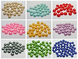 100 Half Pearl Bead 12mm Flat Back Round Gems Scrapbook Craft Pick Your Color