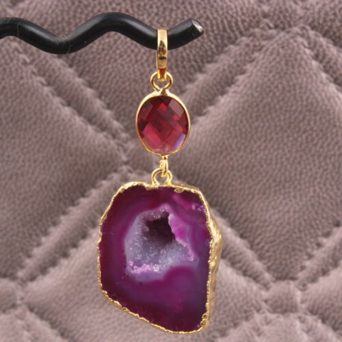 Multi Color Natural Geode Slice Faceted Hydro Quartz Yellow Gold Plated Pendant