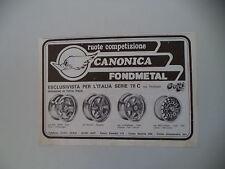 advertising Pubblicità 1979 RUOTE CERCHI CANONICA FONDMETAL - ASTI