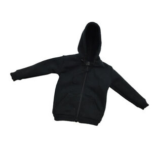 Black-Street-Style-Zip-Up-Hoodie-for-1-6-Scale-12inch-Hot-Toys-Action-Figure