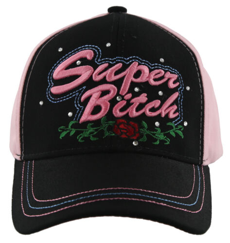 Super BITCH Rose Casquette chapeau rose noir Nouveau