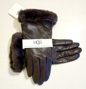 NWT-UGG-Women-s-Shearling-Trimmed-Leather-Touchscreen-Compatible-Gloves-Brown