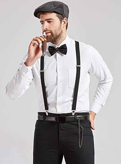 Mens 1920s 20s Gangster Set Hat Braces Tie Cigar Gatsby Costume Accessories