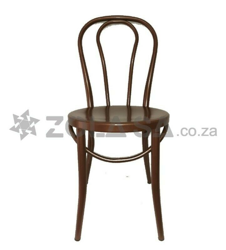 Metal Round Back Chair - Brown