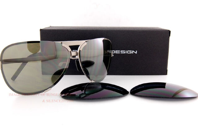 40216eaa053 New Porsche Design Sunglasses P8678 8678 B Silver Interchangeable Lenses  Unisex