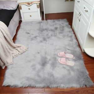 Faux Fur Sheepskin Rug Large Fluffy Bedroom Sofa Hairy Rugs Balcony