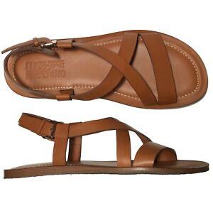 NEW-Ferragamo-Brown-Leather-11-D-44-Men-039-s-NOSTRO-Crisscross-Sandals-Strap-Buckle