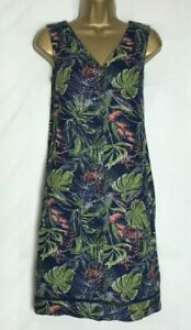 Next Navy Tulip Print Linen Blend Pocket Tunic//Shift Dress Size 6-26 n-80h
