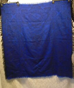 Women-039-s-Dark-Blue-Square-Rectangle-Damask-Pattern-Fringe-Scarf-41-034-x-44-034-H