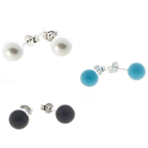 Bella Carina 925 Silber Ohrstecker 6 mm Perle künstlich weiß schwarz türkis