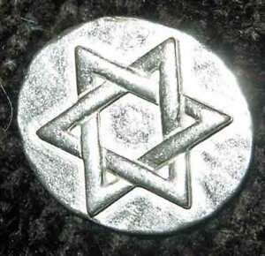 10-Star-of-David-w-bags-Pewter-Pocket-Tokens-Coins-Chanukah-Hanukkah-Gelt