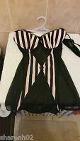 Ann Summers Encore Shell & Black Suspender Cami & Thong Set Size 12
