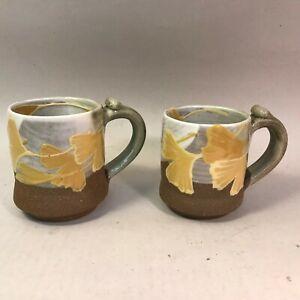 Set-2-Studio-Art-Pottery-Hand-Made-Throw-Mugs-Vases-Marked-Justine-Calumet-NEW