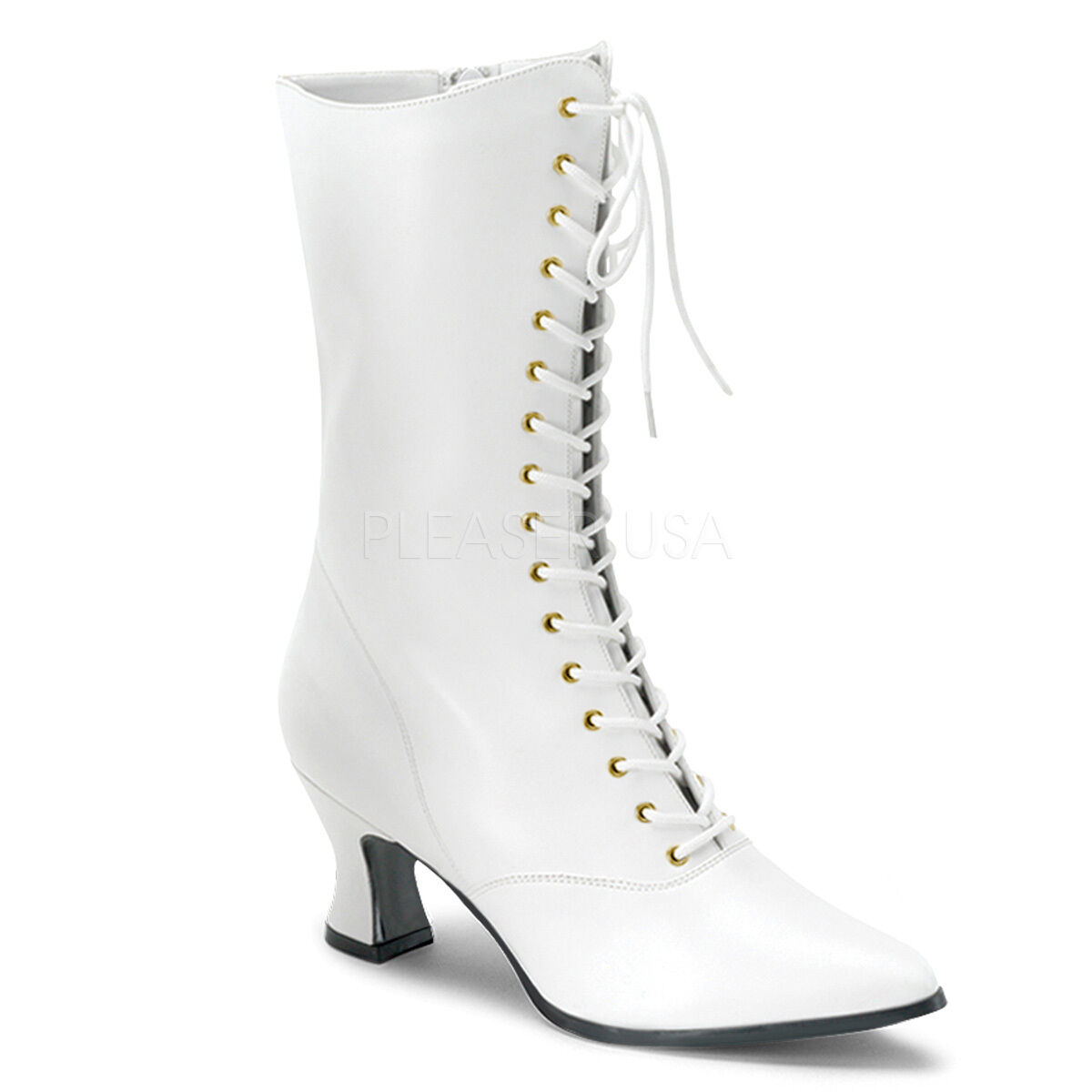 Funtasma Victorian 120 Weiß Faux Leder Kitten Heel Lace-Up Front Ankle Stiefel
