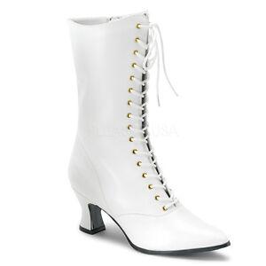 7e5bd2e2d42 Funtasma Victorian 120 White Faux Leather Kitten Heel Lace-Up Front ...