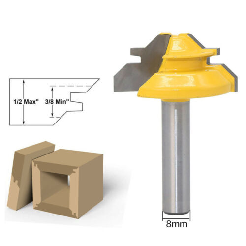 45Degree 1//2in Stock Router Bit Lock Miter Woodwork Cutter Tool 8mm Shank  #x