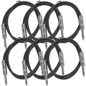 SEISMIC-AUDIO-New-6-PACK-Black-1-4-034-TS-3-039-Patch-Cables-Guitar-Instrument
