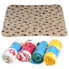 60*70cm Soft Pet Blanket Mat Puppy Paw Print Dog Cat Fleece Bed Blanket Cushion