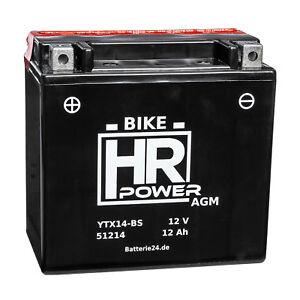 Motorradbatterie AGM 12V 12Ah 51214 YTX14-BS CTX14-BS inkl. Säurepack *NEU*