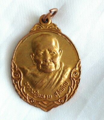 Waen Thai Amulet Yant Add Fortune Wealth be out of danger Pendant Coin  Phra LP
