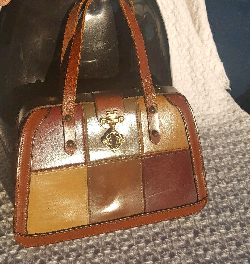 Vtg Top Handle Leather Purse Doctors Bag 1960s-19… - image 1