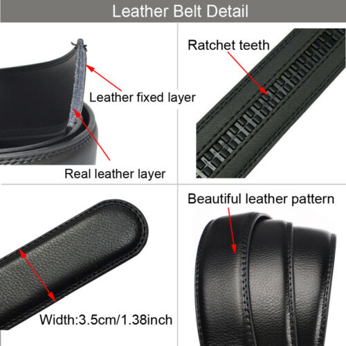 Men's Genuine Leather Belt Wild Black Dress Belts for Men with Automatic Buckle