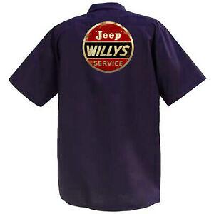 JEEP-Willys-Service-MECCANICA-Graphic-Work-Shirt-a-Manica-Corta