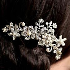 HOT Lady Rhinestone Bridal Wedding Flower Pearls Headband Hair Clip Comb Jewelry