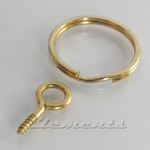 BM092 + BM079 Strong Steel Split Rings Key Rings and Screw Eyes Gold Colour