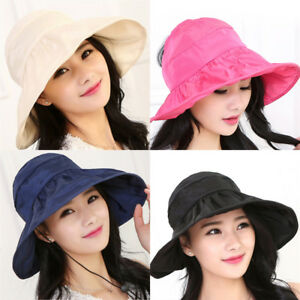 Fashion-Women-Girls-Lady-Foldable-Wide-Brim-Anti-UV-Beach-Sun-Hat-Outdoor-Cap-Vu
