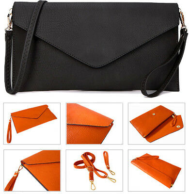 New Ladies Faux Leather Envelope Style Going out Evening Plain Clutch Bag