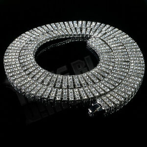14k-White-Gold-4-ROW-Simulated-Diamond-Iced-Out-SILVER-Hip-Hop-Chain-Necklace