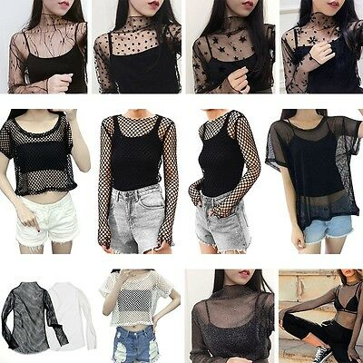 Fashion Women's Mesh Sheer See-through Short/Long Sleeve Crop Top T Shirt Blouse