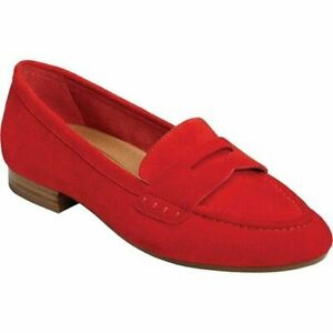 NIB Womens Aerosloes Map Out Red Suede Penny Loafers Slip ...