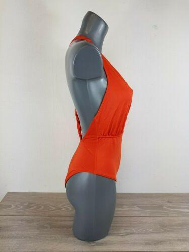 ASOS Twist Back Tie Wrap Front Swimsuit Chile Orange UK 12  EU 40   A143-5