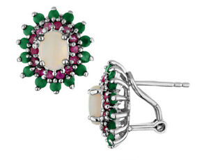 2-80-Carats-ctw-Emerald-Ruby-and-Opal-Earrings-In-Sterling-SIlver